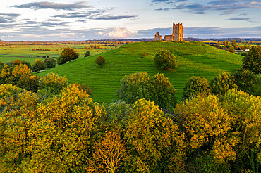 The ruins of St. Michael's Church on Burrow Mump in Somerset, England, United Kingdom, Europe