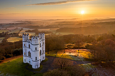 Sun rise at Haldon Belvedere (Lawrence Castle), Devon, England. Winter (March) 2021.