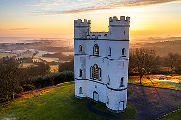 Sunrise at Haldon Belvedere (Lawrence Castle) in winter, Devon, England, United Kingdom, Europe