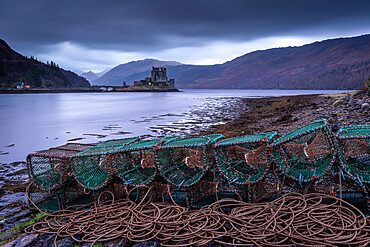 Lobster Creels on the shores of Loch Duich near Eilean Donan Castle, Highlands, Scotland, UK.