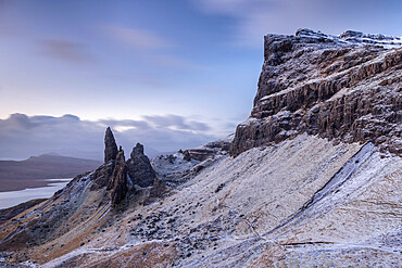 Old Man of Storr and the Storr mountain on the Isle of Skye, Inner Hebrides, Scotland, United Kingdom, Europe