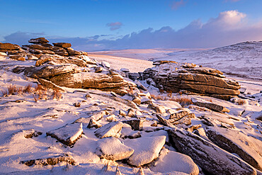 Snow covered granite outcrops on Great Staple Tor, Dartmoor National Park, Devon, England, United Kingdom, Europe