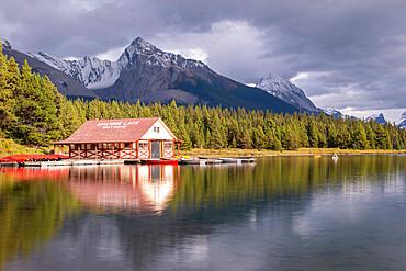 Maligne Lake boathouse in Jasper National Park, Alberta, Canada. Autumn (September) 2015.