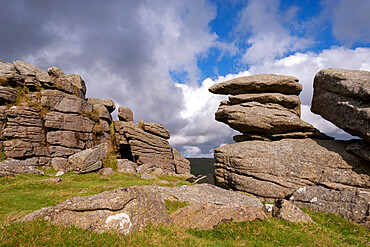 Granite outcrops on Middle Staple Tor in Dartmoor National Park, Devon, England, United Kingdom, Europe
