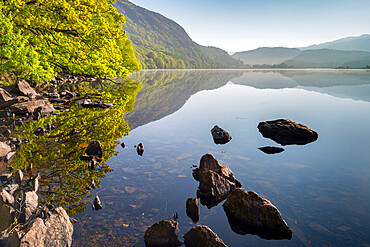 Peaceful Llyn Dinas on a still spring morning, Snowdonia National Park, Wales, United Kingdom, Europe