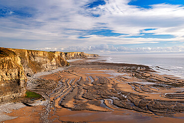 Dramatic coastline of Glamorgan Heritage Coast near Dunraven Bay, South Wales, United Kingdom, Europe
