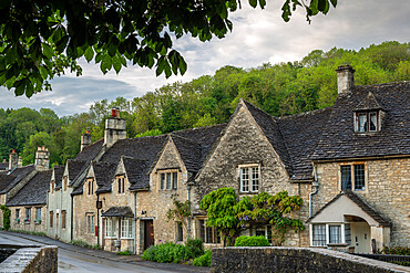 Cottages in the picturesque Cotswolds village of Castle Combe, Wiltshire, England, United Kingdom, Europe