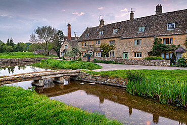The picturesque Cotswolds village of Lower Slaughter, Gloucestershire, England. Spring (May) 2019.
