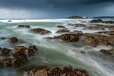 Stormy conditions on the rocky Bantham coast in autumn, looking across to Burgh Island, Devon, England, United Kingdom, Europe