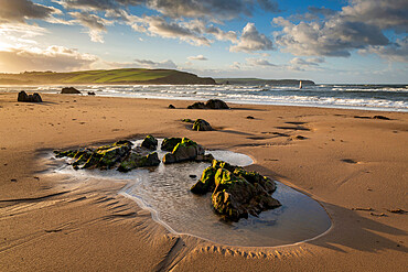 Beautiful Bigbury Beach at dawn in autumn, Bigbury-on-Sea, Devon, England, United Kingdom, Europe