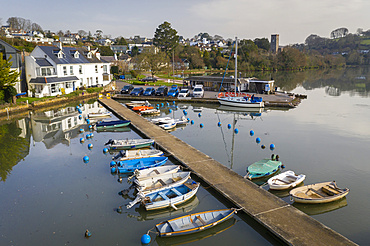 Boats on the pontoon in Stoke Gabriel in the South Hams, Devon, England. Spring (March) 2021.