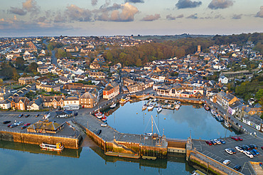 Aerial view of Padstow harbour at dawn, Padstow, Cornwall, England. Spring (May) 2021.