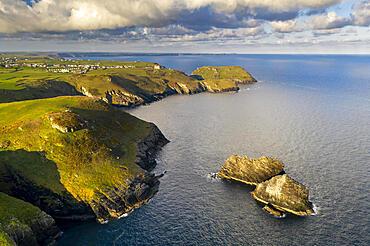 Aerial view of beautiful North Cornish coastline near Tintagel, Cornwall, England. Spring (May) 2021.