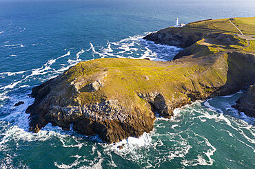 Aerial vista of Trevose Head and lighthouse, Cornwall, England. Spring (May) 2021.