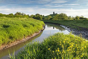 Burrow Mump and the River Parrett, Burrow Bridge, Somerset, England. Spring (May) 2019.