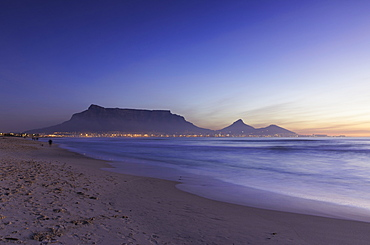 View of Table Mountain from Milnerton Beach at sunset, Cape Town, Western Cape, South Africa, Africa