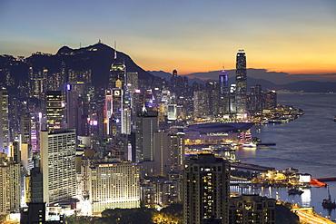 Skyline of Hong Kong Island at sunset, Hong Kong, China, Asia