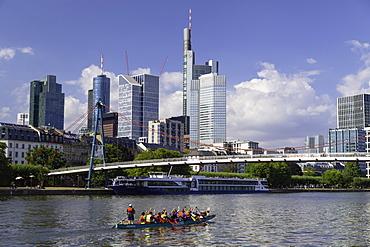Skyline along River Main, Frankfurt, Hesse, Germany, Europe