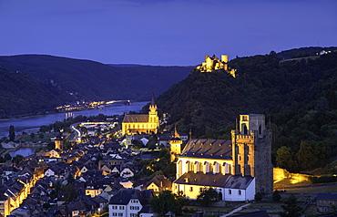 Oberwesel at dusk, Rhineland-Palatinate, Germany, Europe