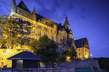Landgrafenschloss (Marburg Castle) at dusk, Marburg, Hesse, Germany, Europe