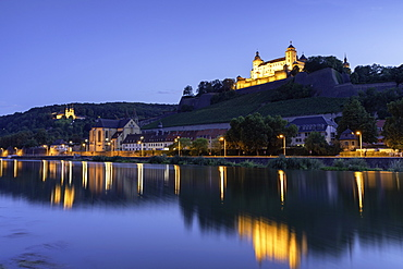 Marienberg Fortress at dusk, Wurzburg, Bavaria, Germany, Europe