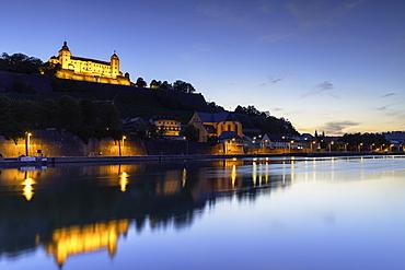 Marienberg Fortress and River Main at dusk, Wurzburg, Bavaria, Germany, Europe
