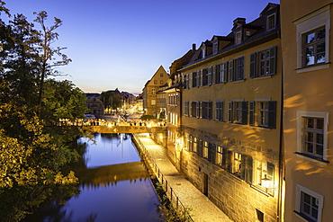 Buildings along River Regnitz at dusk, Bamberg, UNESCO World Heritage Site, Bavaria, Germany, Europe
