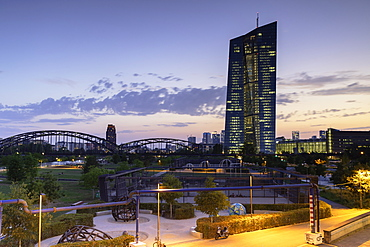 European Central Bank at sunset, Frankfurt, Hesse, Germany, Europe