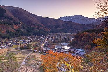 Elevated view of Ogimachi, UNESCO World Heritage Site, at dusk, Shirakawa-go, Toyama Prefecture, Honshu, Japan, Asia