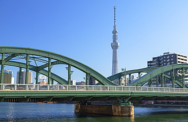 Skytree and Komagata Bridge, Tokyo, Honshu, Japan, Asia