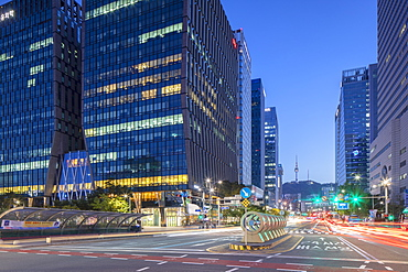 Skyscrapers and Seoul Tower at dusk, Seoul, South Korea, Asia