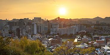 View of Seoul at sunset, Seoul, South Korea, Asia