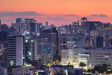 Seoul cityscape at sunset, Seoul, South Korea, Asia