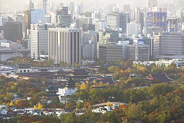 Gyeongbokgung Palace and skyline, Seoul, South Korea, Asia