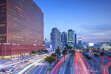 Traffic and skyscrapers near Seoul Station, Seoul, South Korea, Asia