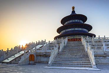 Temple of Heaven at sunrise, UNESCO World Heritage Site, Beijing, China, Asia