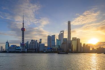 Skyline of Pudong at sunrise, Shanghai, China, Asia