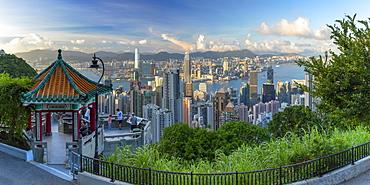 Lion Pavilion on Victoria Peak and skyline, Hong Kong, China, Asia