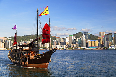 Junk boat in Victoria Harbour, Hong Kong, China, Asia