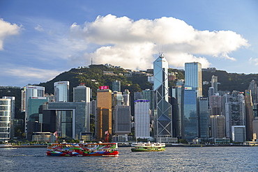 Star Ferry and skyline of Hong Kong Island, Hong Kong, China, Asia