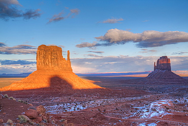 Sunset, West Mitten Butte on left, and East Mitten Butte on right, Monument Valley Navajo Tribal Park, Utah, United States of America, North America