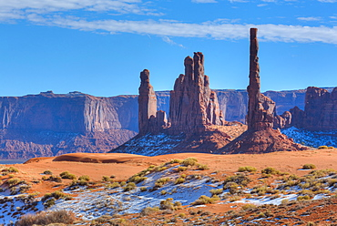 Totem Pole and Yei Bi Chei, Monument Valley Navajo Tribal Park, Utah, United States of America, North America