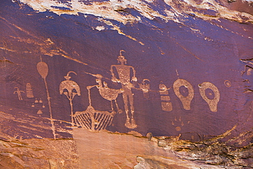 Wolfman Petroglyph Panel, Bultler Wash, near Bluff, Utah, United States of America, North America