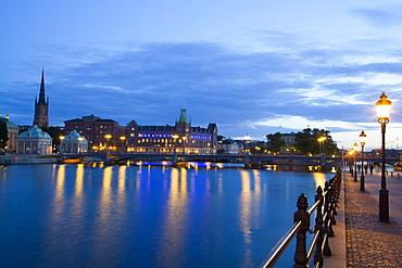 Evening, Waterfront, Gamla Stan on left, Stockholm, Sweden, Scandinavia, Europe