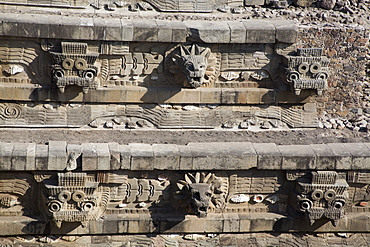 Temple of the Feathered Serpent (Quetzacoatl), Teotihuacan Archaeological Zone, UNESCO World Heritage Site, State of Mexico, Mexico, North America