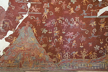 Wall Mural, El Tlalocan, Tlaloc's Paradise, Palace of Tepantitla, Teotihuacan Archaeological Zone, UNESCO World Heritage Site, State of Mexico, Mexico, North America