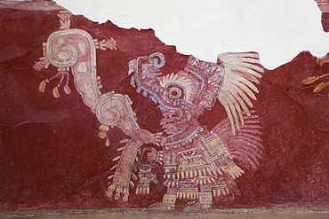 Wall Mural, Priest Procession, Palace of Tepantitla, Teotihuacan Archaeological Zone, State of Mexico, Mexico, North America