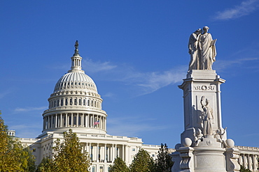 Peace Monument in foreground, United States Capitol Building in background, Washington D.C., United States of America, North America