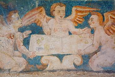 Original 16th century frescoes, Convent de San Bernadino de Siena, built 1552-1560, Valladolid, Yucatan, Mexico, North America