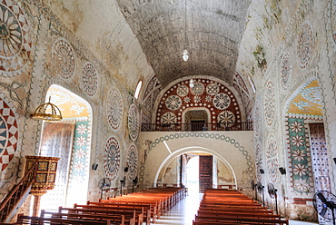 Interior, Ex-Convent of Santo Domingo, founded in 1646, Uayma, Yucatan, Mexico, North America